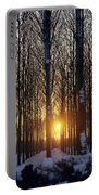 Winter Sunset Through The Trees Portable Battery Charger