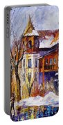 Winter Town - Palette Knife Oil Painting On Canvas By Leonid Afremov Portable Battery Charger