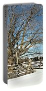 Winter Tree And Fence Portable Battery Charger
