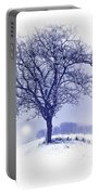 Winter Tree On Hill  Portable Battery Charger