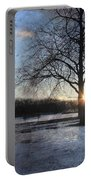 Winter Tree Sunset Portable Battery Charger
