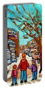 Winter Walk Montreal Paintings Snowy Day In Verdun Montreal Art Carole Spandau Portable Battery Charger