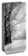 Winter White Season's Greetings Portable Battery Charger by Carol Groenen