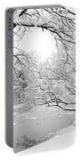 Winter Wonderland In Black And White Portable Battery Charger