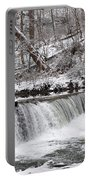 Wissahickon Waterfall In Winter Portable Battery Charger by Bill Cannon