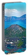 Wizard Island From Watchman Overlook In Crater Lake National Park-oregon  Portable Battery Charger