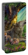 Wolf And Cubs In The Woods Portable Battery Charger