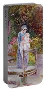 Woman And Child In A Cottage Garden Portable Battery Charger