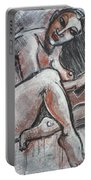 Woman Combing Her Hair - Nudes Portable Battery Charger