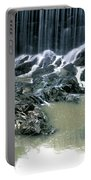 Woman Flyfishing Below Waterfall Portable Battery Charger