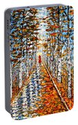 Woman In Red In Fall Rainy Day Portable Battery Charger