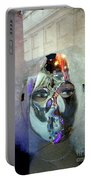 Woman In Silver Mask Portable Battery Charger