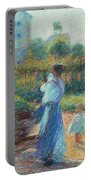 Woman In The Garden Portable Battery Charger