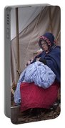Woman Reenactor Sewing In A Civil War Camp Portable Battery Charger