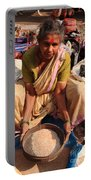 Woman Sifting In A Street Market India Portable Battery Charger