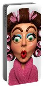 Woman Wearing Curlers Portable Battery Charger