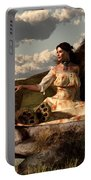 Woman With Lion Portable Battery Charger by Daniel Eskridge