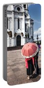 Woman With Umbrella - Moscow - Russia Portable Battery Charger