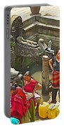 Women Get Bagmati River Holy Water From Ornate Fountains In Patan Durbar Square In Lalitpur-nepal  Portable Battery Charger