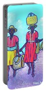 Women On Beach At Grenada Portable Battery Charger