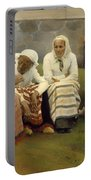 Women Outside The Church - Finland Portable Battery Charger