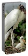 Wood Stork With Nestling Portable Battery Charger