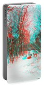 Wooded Path - Use Red And Cyan Filtered 3d Glasses Portable Battery Charger