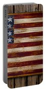 Wooden American Flag On Wood Wall Portable Battery Charger