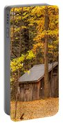 Wooden Cabin In Autumn Portable Battery Charger