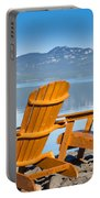 Wooden Deckchairs Overlooking Scenic Lake Laberge Portable Battery Charger