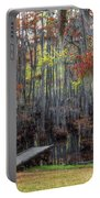 Wooden Dock On Autumn Swamp Portable Battery Charger