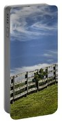 Wooden Farm Fence On Crest Of A Hill Portable Battery Charger