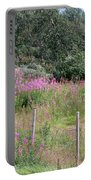Wooden Fence And Pink Fireweed In Norway Portable Battery Charger