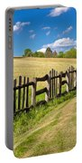 Wooden Fence In Green Landscape Portable Battery Charger