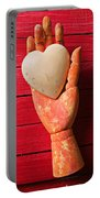 Wooden Hand With White Heart Portable Battery Charger