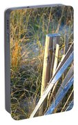Wooden Post And Fence At The Beach Portable Battery Charger