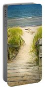 Wooden Stairs Over Dunes At Beach Portable Battery Charger