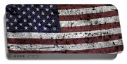 Wooden Textured U. S. A. Flag Portable Battery Charger