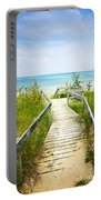 Wooden Walkway Over Dunes At Beach Portable Battery Charger