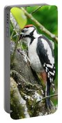 Woodpecker Swallowing A Cherry  Portable Battery Charger