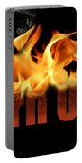 Word Burn Out In Fire Text Art Prints Portable Battery Charger