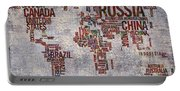 World Map Typography Artwork Portable Battery Charger