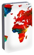 World Map 12 - Colorful Red Map By Sharon Cummings Portable Battery Charger