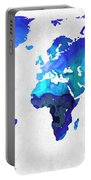 World Map 17 - Blue Art By Sharon Cummings Portable Battery Charger by Sharon Cummings