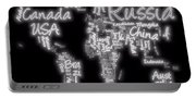 World Map In Text Neon Light Portable Battery Charger