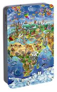 World Map Of World Wonders Portable Battery Charger