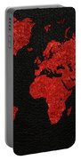 World Map Red Fabric On Dark Leather Portable Battery Charger