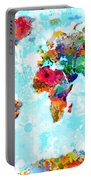 World Map Spattered Paint Portable Battery Charger