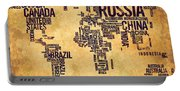 World Map Typography 6 Watercolor Painting Portable Battery Charger