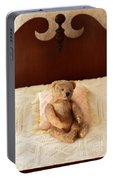 Worn Teddy Bear On Bed Portable Battery Charger